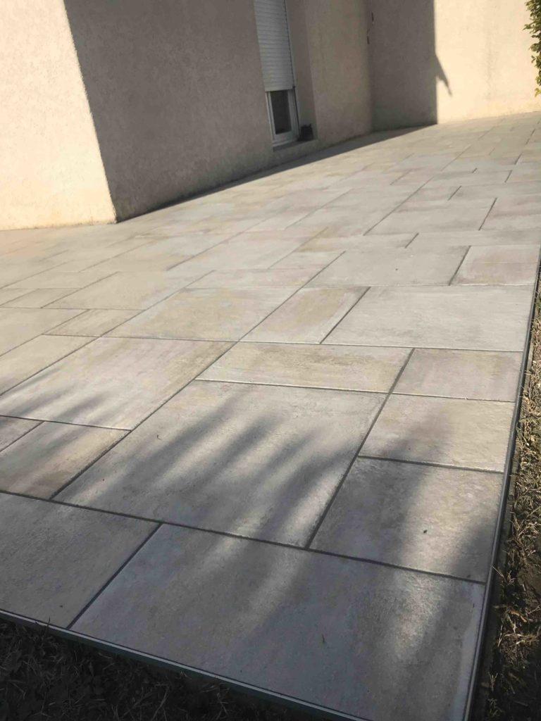 Terrasse pose en module effet pierre