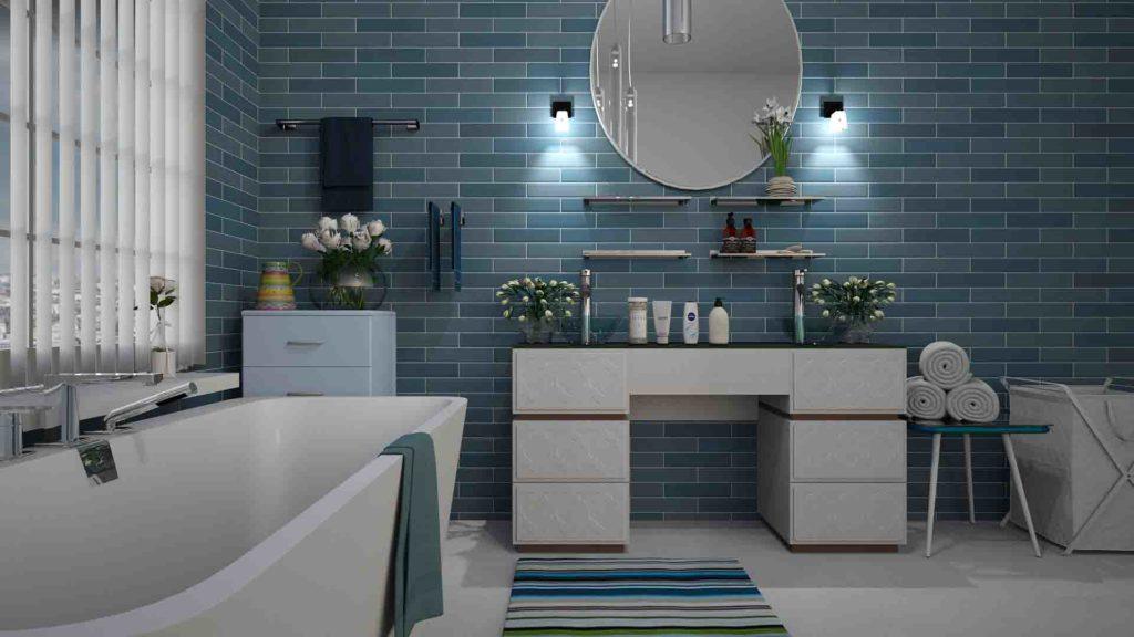 salle de bain carreaux metro bleus