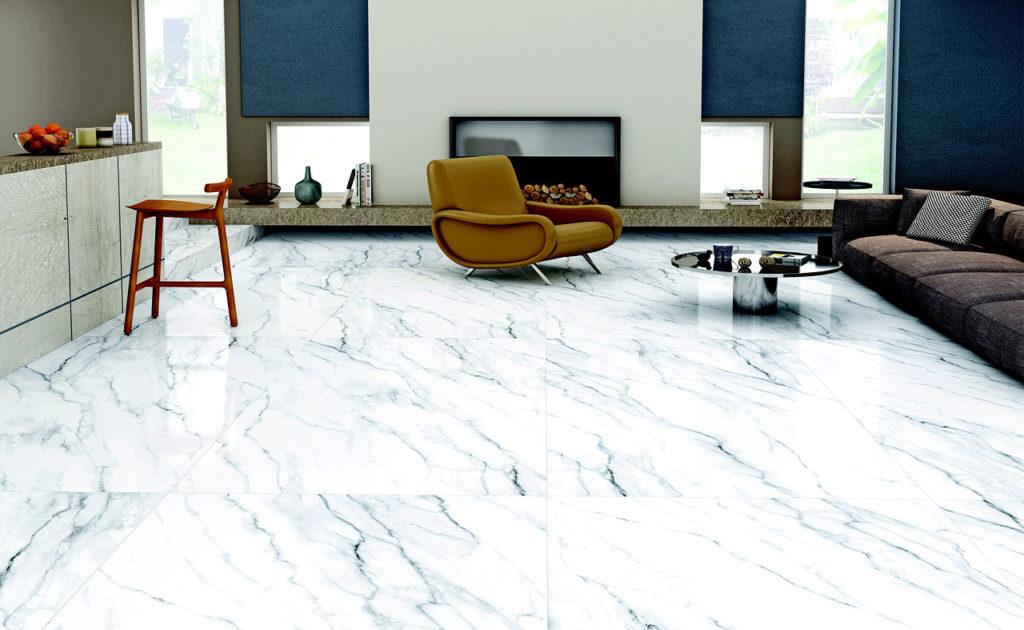 séjour carrelage grand format marbre